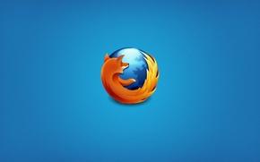 Картинка браузер, mozilla firefox, голубой фон