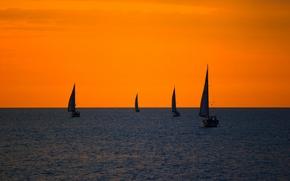 Картинка море, небо, яхта, зарево, парус