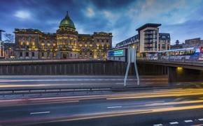 Картинка дорога, мост, огни, вечер, Шотландия, фонари, дворец, Glasgow