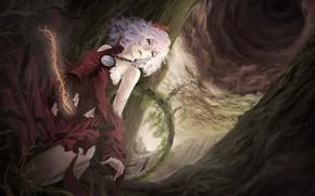 Картинка девушка, мрак, кровь, touhou, art, yasaka kanako, на коленях, akaikitsune