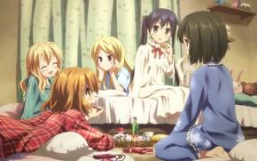 Обои комната, девочки, аниме, подруги