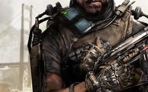 Картинка оружие, мост, борода, рука, Activision, дым, Sledgehammer Games, бронежилет, броня, солдат, губы, Call of Duty: ...