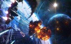 Обои звезды, взрыв, дым, человек, планета, корабли, Космос, сражение
