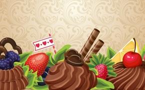 Обои абстракция, ягоды, сладость, шоколад, пирожное, фрукты, крем, chocolate, abstraction, fruits, cream, cakes, sweets, berries