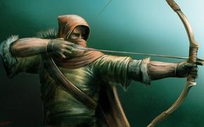 Картинка лук, арт, стрела, лучник