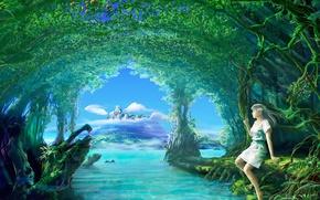 Обои Деревья, вода, девушка