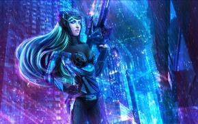 Картинка девушка, город, оружие, art, League of Legends, fan art, Caitlyn, LoL, Лига Легенд, Riot Games