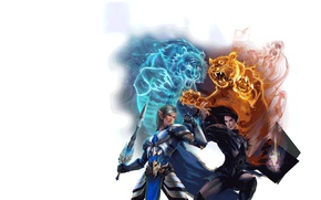 Картинка стихия, борьба, воин, арт, зверь, тигры, perfect world