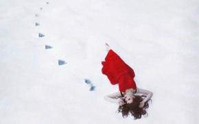 Картинка девушка, снег, поза