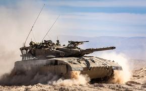Картинка песок, поле, танк, боевой, Меркава, основной, Merkava, Израиля