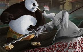 Обои оружие, азия, арт, ярость, панда, павлин, птица, копье, karuma9, lord shen, Kung Fu Panda