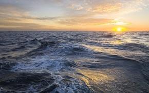 Обои море, волны, солнце, облака, горизонт
