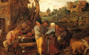 Картинка картина, жанровая, Адриан Брауэр, Крестьянская Драка