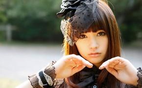 Картинка girl, long hair, hat, brown hair, beautiful, pretty, lips, face, asian, pose, cute, pretty girl, …