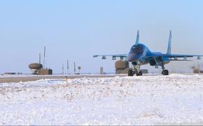 Картинка снег, Самолет, аэродром, су-34, Fullback, ОКБ Сухого, ВВС России, советский/российский фронтовой бомбардировщик