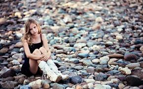 Картинка камни, настроение, девочка