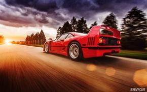Картинка дорога, свет, красный, тучи, блики, скорость, Ferrari, F40