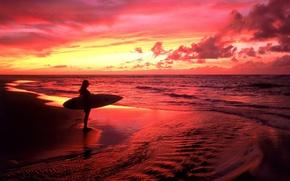 Обои море, серфер, красный, закат