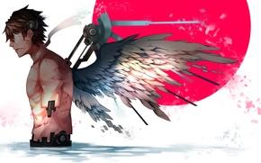 Картинка робот, крылья, ангел, арт, парень, киборг