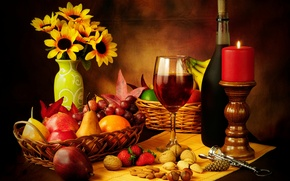 Картинка бутылка, бокал, вино, красное, штопор, орехи, натюрморт, свеча, фрукты, груши, корзина, виноград, яблоки, клубника