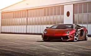 Картинка красный, red, авентадор, Lamborghini, ламборгини, Mansory, LP700-4, Aventador, LB834, ангар, ламборджини