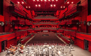 Обои architecture, music, opera, seats, lights, stage, theater, red