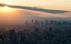 Картинка закат, здания, Солнце, небоскребы, Токио, Shinjuku, sunset, Tokyo SkyTree