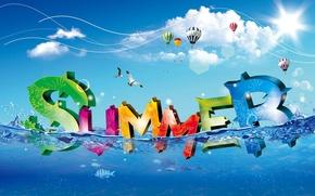 Обои лето, шары, вода, summer, облака
