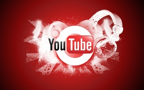 Картинка красный, фон, наушники, youtube, ячейки