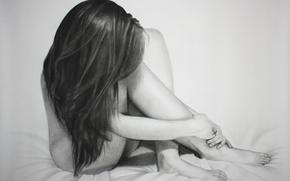 Картинка поза, ноги, тело, кровать, карандаш, живопись, длинные волосы