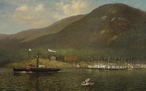Картинка горы, река, лодка, корабль, буксир, живопись, James Gale Tyler