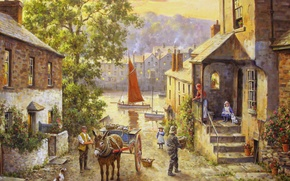 Картинка картина, живопись, painting, Donald Hamilton Fraser, boddinick across from fowey cornwall