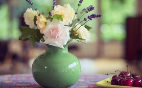 Картинка цветы, вишня, стол, букет, ваза, натюрморт, летний