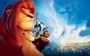Обои обои, фильм, король лев, львица, облака, животные, тимон, природа, кабан, скала, пумба, нала, симба, Мандрил, ...