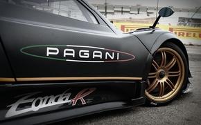 Картинка Pagani, supercar, black, Zonda, front, carbon, track