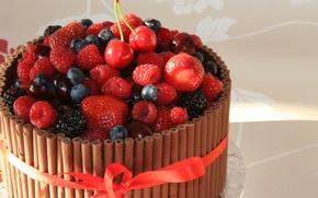 Обои шоколад, торт, фрукты
