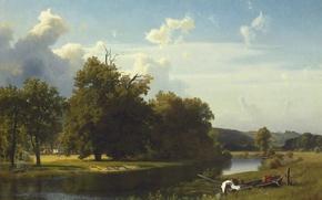 Картинка пейзаж, река, лодка, картина, Альберт Бирштадт, Вестфалия