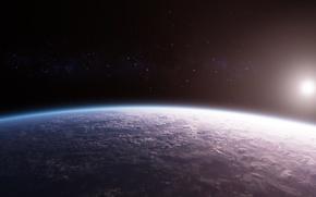 Обои Dawn Over a New World, Новый Мир, Планета, Поверхность, Stars, Space, Облака
