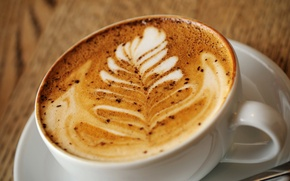 Обои пена, узор, кофе, чашка, капучино, латте-арт