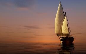 Картинка море, небо, закат, яхта, горизонт, паруса, 3D
