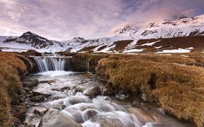 Картинка осень, вода, облака, снег, водопад