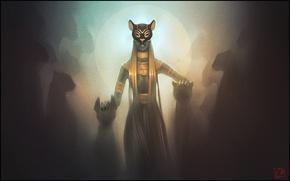Картинка свет, украшения, кошки, Девушка