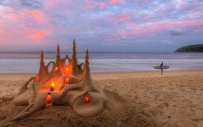 Картинка песок, море, пляж, свечи, песочный замок