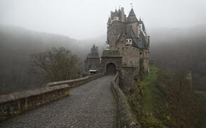 Картинка дорога, Туман, Германия, Замок, Eltz Castle, Замок Эльц