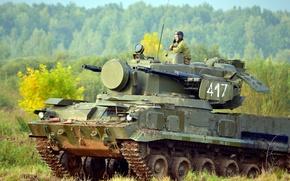 Картинка поле, Россия, танкист, ЗПРК, Тунгуска