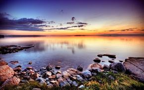 Картинка закат, озеро, камни, берег