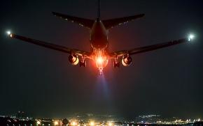 Картинка красный свет, ночь, самолет, посадка, Осака, аэропорт