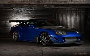 Обои отличная машина, Toyota Supra, красивый цвет, tuning, Тойота Супра, тюнинг, полумрак, синий, спорткар