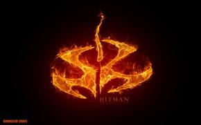 Картинка красный, огонь, пламя, игра, логотип, символ, Hitman, хитман, Агент 47