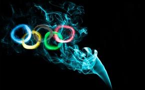 Картинка краски, дым, кольца, олимпиада